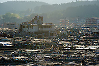 Minamisanriku, Myiagi, Japan, May 17, 2011. The fishing port of Minamisanriku, was devastated after the March 11th Tsunami when the popultion was reduced from 18,000 to about 8,000 as 10,0000 where washed out to sea.<br /> <br /> Photo by Richard Jones/ Sinopix
