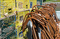 Canada St Martins New Brunswick close up of boat anchors in small fishing village for trapping lobsters and fishing