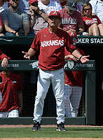 Arkansas coach Dave Van Horn asks the plate umpire if a pitch hit first baseman Cullen Smith Friday, June 4, 2021, during the fourth inning of the Razorbacks' 13-8 win over New Jersey Institute of Technology in the first game of the NCAA Fayetteville Regional at Baum-Walker Stadium in Fayetteville. Visit nwaonline.com/210605Daily/ for today's photo gallery.<br /> (NWA Democrat-Gazette/Andy Shupe)