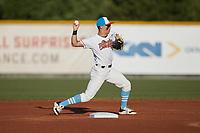 Burlington Sock Puppets second baseman Alexander Haba (5) (Merrimack) on defense against the Danville Otterbots at Burlington Athletic Park on June 5, 2021 in Burlington, North Carolina. (Brian Westerholt/Four Seam Images)