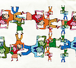 Illustrative of people holding hands representing networking