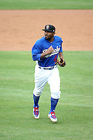 Howie Kendrick (41) of the Rancho Cucamonga Quakes, while on a rehab assignment for the Los Angeles Dodgers, returns to the dugout during a game against the Lake Elsinore Storm at LoanMart Field on April 10, 2016 in Rancho Cucamonga, California. Lake Elsinore defeated Rancho Cucamonga, 7-6. (Larry Goren/Four Seam Images)