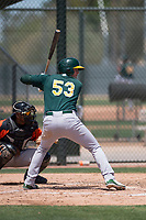 Oakland Athletics third baseman William Toffey (53) at bat during an Extended Spring Training game against the San Francisco Giants Orange at the Lew Wolff Training Complex on May 29, 2018 in Mesa, Arizona. (Zachary Lucy/Four Seam Images)
