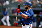 Joey Gallo bats during a spring training game between the Texas Rangers and Los Angeles Dodgers in Surprise, Ariz., on Sunday, March 7, 2021.<br /> Photo by Cathleen Allison