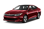 2018 KIA Optima Plug-In Hybrid 4 Door Sedan angular front stock photos of front three quarter view