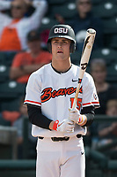 Oregon State Beavers third baseman Jake Dukart (15) at bat during a game against the New Mexico Lobos on February 15, 2019 at Surprise Stadium in Surprise, Arizona. Oregon State defeated New Mexico 6-5. (Zachary Lucy/Four Seam Images)