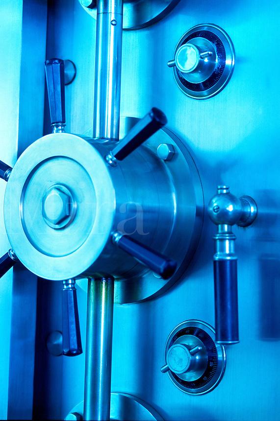 Close up of a vault dooriwth combination locks
