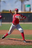Cincinnati Reds relief pitcher Jared Solomon (27) during a Minor League Spring Training game against the Chicago White Sox at the Cincinnati Reds Training Complex on March 28, 2018 in Goodyear, Arizona. (Zachary Lucy/Four Seam Images)