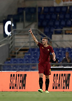 Calcio, Serie A: Roma, stadio Olimpico, 26 agosto, 2017.<br /> Roma's Edin Dzeko celebrates with his teammates after scoring during the Italian Serie A football match between Roma and Inter at Rome's Olympic stadium, AUGUST 26, 2017.<br /> UPDATE IMAGES PRESS/Isabella Bonotto