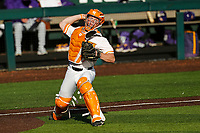 Tennessee Volunteers catcher Charlie Taylor (14) warms up prior to the game against the LSU Tigers on Robert M. Lindsay Field at Lindsey Nelson Stadium on March 26, 2021, in Knoxville, Tennessee. (Danny Parker/Four Seam Images)