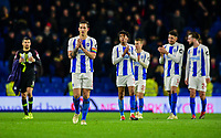 Lewis Dunk of Brighton & Hove Albion (5) and the Brighton players applaud fans ,during the Premier League match between Brighton and Hove Albion and Crystal Palace at the American Express Community Stadium, Brighton and Hove, England on 4 December 2018. Photo by Edward Thomas / PRiME Media Images.