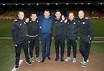 St Johnstone v Rangers…28.12.16     McDiarmid Park    SPFL<br />Beards for Bairns charity, from left, Alex Headrick, Callum Davidson, Tommy Wright, Tony Tompos, Alec Cleland and Paul Mathers<br />Picture by Graeme Hart.<br />Copyright Perthshire Picture Agency<br />Tel: 01738 623350  Mobile: 07990 594431