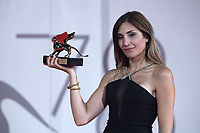 """Director Audrey Diwan receives the Golden Lion for Best Film for """"L'Evenement"""" (Happening) during the Winners Red Carpet as part of the 78th Venice International Film Festival in Venice, Italy on September 11, 2021. <br /> CAP/MPI/IS/PAC<br /> ©PAP/IS/MPI/Capital Pictures"""