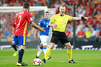 Spain's Daniel Carvajal and the Nederland's referee Bjorn Kuipers during FIFA World Cup 2018 Qualifying Round match. September 2,2017.(ALTERPHOTOS/Acero)