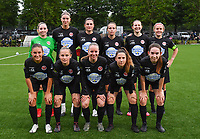 players of Woluwe with Zelie Lambert , Marie Bougard , Noemie Fourdin , Jana Janssens ,  Els Glorieus , Jana Simons , Kenza Vrithof , Stefanie Deville , Lotte Michiels , Taika De Koker and Noa Corbeels pictured posing for the photographer during a female soccer game between Sporting Charleroi and White Star Woluwe on the first matchday in the 2021 - 2022 season of Belgian Scooore Womens Super League , friday 20 August 2021 in Marcinelle , Belgium . PHOTO SPORTPIX | DAVID CATRY