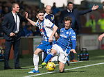 Kilmarnock v St Johnstone…09.04.16  Rugby Park, Kilmarnock<br />Chris Millar is fouled by Greg Kiltie<br />Picture by Graeme Hart.<br />Copyright Perthshire Picture Agency<br />Tel: 01738 623350  Mobile: 07990 594431