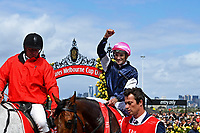 Jockey Corey Brown wins the Melbourne Cup on Rekindling (GB)<br /> 2017 Melbourne Cup horse racing, <br /> Flemington Racecourse, Melbourne, Australia. <br /> Tuesday 7 November 2017. <br /> © Sport the library / Jeff Crow