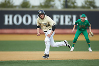Michael Ludowig (22) of the Wake Forest Demon Deacons hustles towards third base against the Notre Dame Fighting Irish at David F. Couch Ballpark on March 10, 2019 in  Winston-Salem, North Carolina. The Demon Deacons defeated the Fighting Irish 7-4 in game one of a double-header.  (Brian Westerholt/Four Seam Images)