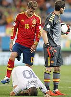 Spain's national team Sergio Ramos and France's national team Karim Benzema injured during match. October 16, 2012. (ALTERPHOTOS/Alvaro Hernandez) /NORTEPhoto