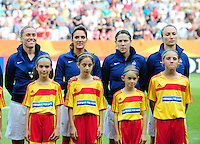 Fifa Women's World Cup Germany 2011 : Zweden - France Frankrijk at Sinsheim World Cup stadium : Camille Abily , Louisa Necib , Elise Bussaglia en Gaetane Thiney.foto DAVID CATRY / Vrouwenteam.be