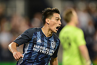 Kansas City, KS - Wednesday May 29, 2019.  Los Angeles Galaxy defeated Sporting Kansas City 2-0 in a Major League Soccer (MLS) game at Children's Mercy Park. Favio Alvarez scores and celebrates.