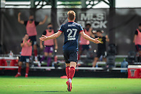 LAKE BUENA VISTA, FL - JULY 14: Robert Beric #27 of the Chicago Fire celebrates his goal during a game between Seattle Sounders FC and Chicago Fire at Wide World of Sports on July 14, 2020 in Lake Buena Vista, Florida.