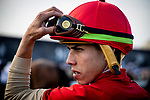 MAY 18: Irad Ortiz Jr. gets ready to ride in the Preakness Stakes at Pimlico Racecourse in Baltimore, Maryland on May 18, 2019. Evers/Eclipse Sportswire/CSM
