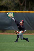 Rutgers Scarlet Knights center fielder Jawuan Harris (1) during warmups before a game against the Indiana Hoosiers on February 23, 2018 at North Charlotte Regional Park in Port Charlotte, Florida.  Indiana defeated Rutgers 7-6.  (Mike Janes/Four Seam Images)