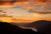 Spectacular sunset over Kenepuru Sounds - Marlborough Sounds, New Zealand