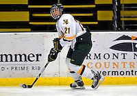 25 October 2008: University of Vermont Catamount defenseman Melanie Greene, a Junior from Queensbury, NY, in action against the Cornell University Big Red at Gutterson Fieldhouse, in Burlington, Vermont. The Big Red defeated the Catamounts 5-1 to sweep their 2-game series in Vermont...Mandatory Photo Credit: Ed Wolfstein Photo