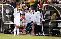 Cristiano Ronaldo questions the referee. Real Madrid defeated Club America 3-2 at Candlestick Park in San Francisco, California on August 4th, 2010.