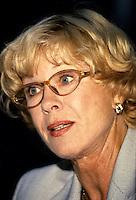 """Montreal (Qc) CANADA -  August 27 1999 File Photo -<br /> <br /> Bibi Andersson press conference as Jury President of the 1999 World Film Festival.<br /> <br /> Birgitta """"Bibi"""" Andersson (born 11 November 1935) is a Swedish actress.<br /> <br /> Andersson was born in Kungsholmen, Stockholm, the daughter of Karin (née Mansion), a social worker, and Josef Andersson, a businessman.[2][3][4] She studied acting at the Terserus Drama School and at the legendary Royal Dramatic Theatre School in Stockholm. After completing school, she agreed to join the Royal Dramatic Theatre in Stockholm, which she remained a member of for 30 years. Her first collaboration with Ingmar Bergman was in 1951, when she participated in his production of an advertisement for the detergent """"Bris"""". At the end of the 1950s she starred in three Bergman pictures: The Seventh Seal, Wild Strawberries, and Brink of Life.<br /> <br /> Her intense portrayal of the nurse Alma in the 1966 film Persona led to an increase in the number of cinematic roles offered her, and she appeared that same year opposite James Garner and Sidney Poitier in the violent western Duel at Diablo. More Bergman collaborations followed, as well as working with John Huston (The Kremlin Letter: 1970) and Robert Altman (Quintet: 1979). She made her debut in American theatre in 1973 with a production of Erich Maria Remarque's """"Full Circle"""". In 1990 she worked as a theatre director in Stockholm. In the late 1980s and early 1990s Andersson worked primarily in television and as a theatre actress, working with Bergman among others. She was also a supervisor for the humanitarian project Road to Sarajevo.<br /> <br /> In 1996, she published her autobiography Ett ögonblick (""""A Moment"""", or, literally, """"A Blink of the Eye""""). She has been married (1960, divorced) to the director Kjell Grede with whom she has a daughter, Jenny, and, secondly (1978, divorced), to the politician and writer Per Ahlmark. Since 29 May 2004, Andersson has been married t"""