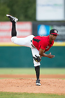 Hickory Crawdads starting pitcher Dillon Tate (38) follows through on his delivery against the West Virginia Power at L.P. Frans Stadium on August 15, 2015 in Hickory, North Carolina.  The Power defeated the Crawdads 9-0.  (Brian Westerholt/Four Seam Images)