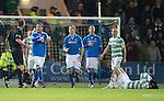 St Johnstone v Celtic.....26.12.13   SPFL<br /> Sanil Jahic gestures about Georgios Samaras diving<br /> Picture by Graeme Hart.<br /> Copyright Perthshire Picture Agency<br /> Tel: 01738 623350  Mobile: 07990 594431
