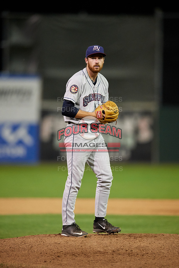 Mahoning Valley Scrappers starting pitcher Zack Draper (32) gets ready to deliver a pitch during the second game of a doubleheader against the Batavia Muckdogs on August 28, 2017 at Dwyer Stadium in Batavia, New York.  Mahoning Valley defeated Batavia 2-0.  (Mike Janes/Four Seam Images)