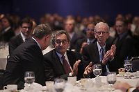 Fomer presidents Leon-Paul Rousseau (L) and Jean campeau (R) talk with <br /> Michael Sabia (M) after he adress the Canadian club of Montreal on the occasion of la Caisse de depot et placement du Quebec's 50th anniversary,May 27, 2015<br /> <br /> Photo :Agence Quebec Presse - Pierre Roussel