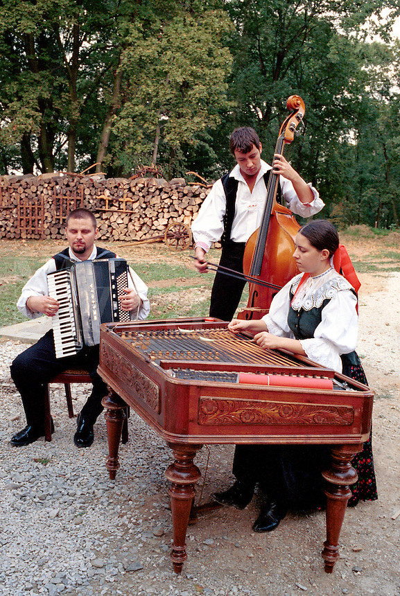 Musicians at a harvest celebration at a rural Slovakian village playing traditional instruments.   1030108. Beladice, Slovakia.