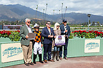 """ARCADIA, CA  SEPTEMBER 29:The connections of #3 Paradise Woods, ridden by Abel Cedillo,in the winners circle after winning the Zenyatta Stakes (Grade ll) """"Win and You're In Breeders' Cup Distaff Division, on September 29, 2019 at Santa Anita Park in Arcadia, CA.<br /> (Photo by Casey Phillips/Eclipse Sportswire/CSM)"""