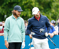 2nd July 2021; Mount Juliet Golf Club, Kilkenny, Ireland; Dubai Duty Free Irish Open Golf, Day Two; Rory Mcilroy of Northern Ireland compares drivers with Tommy Fleetwood of England on the 10th tee