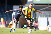 Jack Muldoon, Harrogate Town,  holds off Terrell Egbri, Southend United, during Southend United vs Harrogate Town, Sky Bet EFL League 2 Football at Roots Hall on 12th September 2020