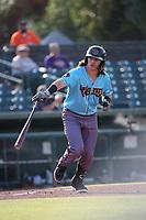 Danny Oriente (9) of the los Toros de Visalia bats against the Cucuys de San Bernardino at San Manuel Stadium on July 11, 2021 in San Bernardino, California. (Larry Goren/Four Seam Images)
