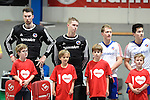 Mannheim, Germany, January 24: Line up before the 1. Bundesliga Herren Hallensaison 2014/15 quarter-final hockey match between Mannheimer HC (white) and Club an der Alster (red) on January 24, 2015 at Irma-Roechling-Halle in Mannheim, Germany. Final score 2-3 (1-2). (Photo by Dirk Markgraf / www.265-images.com) *** Local caption *** (L-R) Andreas Spaeck #1 of Mannheimer HC, Lukas Stumpf #4 of Mannheimer HC, Jan-Philipp Fischer #2 of Mannheimer HC, Tino Nguyen #7 of Mannheimer HC