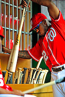 24 May 2009: Washington Nationals' outfielder Willie Harris places his bats in the bin prior to a game against the Baltimore Orioles at Nationals Park in Washington, DC. The Nationals rallied to defeat the Orioles 8-5 and salvage one win of their interleague series. Mandatory Credit: Ed Wolfstein Photo