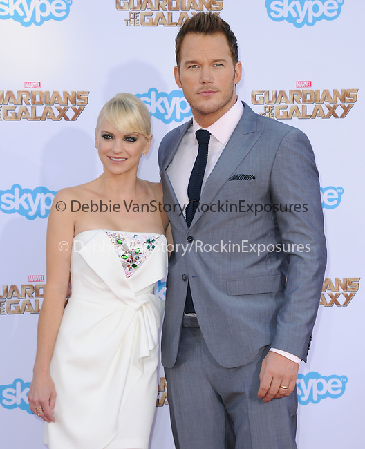 Anna Faris and Chris Pratt<br />  attends The Marvel Studios World Premiere GUARDIANS OF THE GALAXY held at The Dolby Theatre in Hollywood, California on July 21,2014                                                                               © 2014Hollywood Press Agency