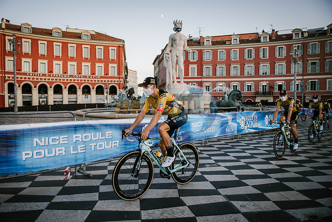 Wout Van Aert (BEL) and Team Jumbo-Visma arrive at the team presentation before the Tour de France 2020, Nice, France. 27th August 2020.<br /> Picture: ASO/Pauline Ballet   Cyclefile<br /> All photos usage must carry mandatory copyright credit (© Cyclefile   ASO/Pauline Ballet)
