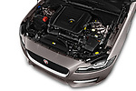 Car stock 2018 Jaguar XF Sportbrake R Sport 5 Door Wagon engine high angle detail view