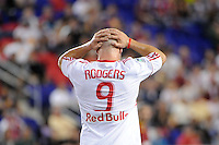 Luke Rodgers (9) of the New York Red Bulls reacts to a missed scoring opportunity. Real Salt Lake defeated the New York Red Bulls 3-1 during a Major League Soccer (MLS) match at Red Bull Arena in Harrison, NJ, on September 21, 2011.