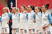 1st November 2020; Wembley Stadium, London, England; Womens FA Cup Final Football, Everton Womens versus Manchester City Womens; Lucy Bronze, Keira Walsh, Caroline Weir, Ellen White and Alex Greenwood and Chloe Kelly of Manchester City Women stand for the national anthem before kick off