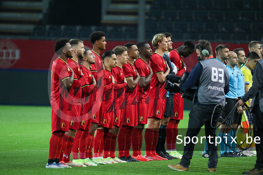 Belgian players singing the national anthem before a soccer game between the national teams Under21 Youth teams of Belgium and Kazakhstan on the third matday in group I for the qualification for the Under 21 EURO 2023 , on friday 8 th of october 2021  in Leuven , Belgium . PHOTO SPORTPIX | SEVIL OKTEM