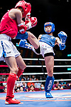 Yang Wen He (Red) of Taiwan fights against Yiu Tat Fai (Blue) of Hong Kong in the male muay 48KG division weight bout during the East Asian Muaythai Championships 2017 at the Queen Elizabeth Stadium on 13 August 2017, in Hong Kong, China. Photo by Yu Chun Christopher Wong / Power Sport Images
